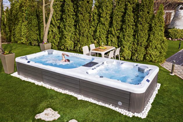 Swim Spa Rio Grande (Wellis), spojení bazénu s vířivkou, protiproud, šest míst, 40 trysek, barevné LED osvětlení, audiosystém, skořepina z materiálu Lucite Acrylics, ocelový rám, ovládání dotykovými panely nebo prostřednictvím mobilní aplikace, kanadská technologie Gecko, cena na dotaz, WWW. MOUNTFIELD. CZ