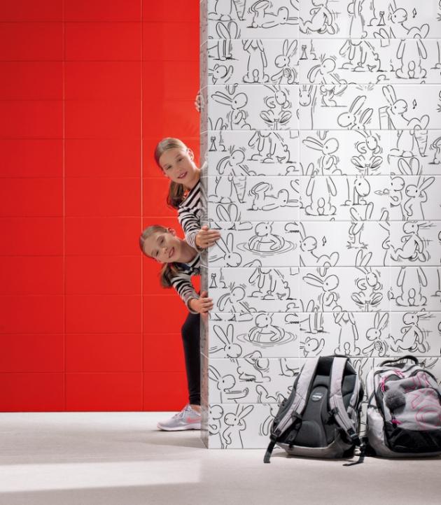 Motivem obkladu z hravé série Play najdeme oblíbené postavičky Boba a Bobka od výtvarníka Vladimíra Jiránka, formát 20 × 40 cm, cena 720 Kč/m2