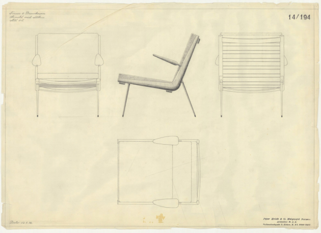 Křeslo Boomerang HM1 aHM2 (Tradition) navrhli vroce 1956 designéři Hvide aMølgaard především sdůrazem na funkčnost anetradiční kombinaci materiálů,