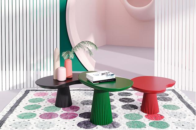 Stůl Mira (Maison Dada) je poctou katalánskému malíři asochaři Joanu Miróovi, proslulému výstředností ahumorem, jehož tvorba je plná zkroucených tvarů abizarních geometrických struktur.