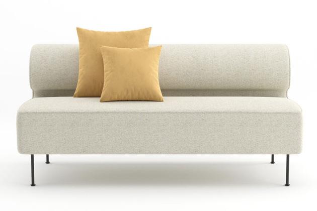 Sofa Eave Dining (Menu) vyniká svou vizuální lehkostí a překvapuje dokonalým pohodlím. Je jakýmsi spojením pohovky a jídelní lavice, jejichž funkce balí do čistých linií a minimalismu, který je spíše vřelý než chladně strohý. Vybírat lze z mnoha rozměrů a barev, výrobce také nabízí řešení na míru. Design Norm Architects, rozměry vyobrazené varianty 200 × 75 × 79 cm, cena na dotaz, WWW.MENUSPACE.COM