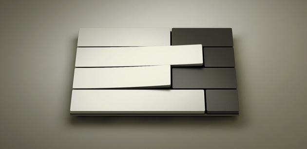 Vypínač Piano (Lithoss), design David Dos Santos, bezrámečkový, kompozitní materiál sminerálními látkami, cena na dotaz, www.lithoss.be
