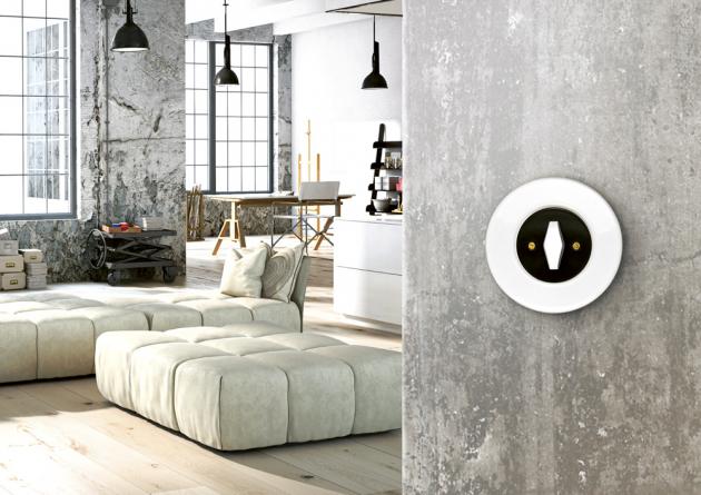 Vypínač zkolekce Retro (Obzor), bílá keramika, černý kryt, ovladač BTA bílý, cena od 1 269Kč,  www.obzor.cz