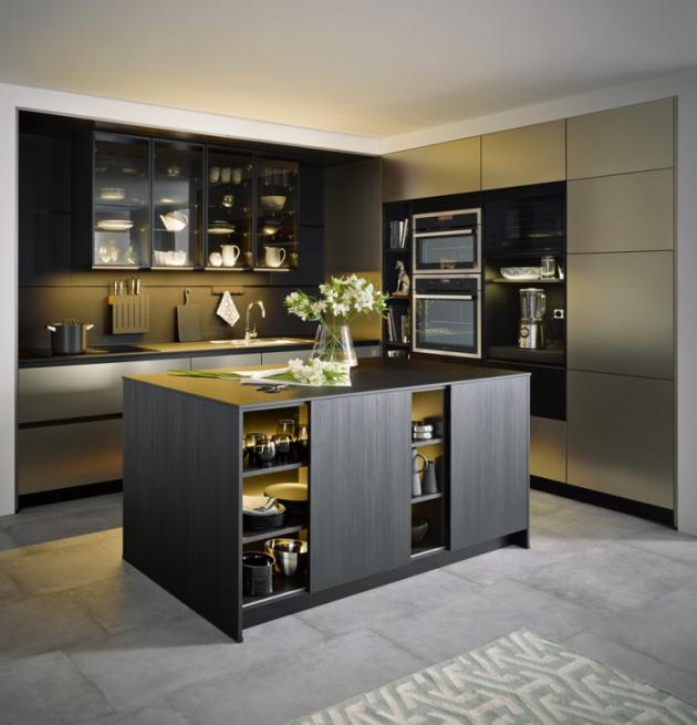 Kuchyň Corona (Schüller), černá, matná, broušená metalíza v kombinaci s nerezovou ocelí, cena na dotaz, WWW.CASAMODERNA.CZ