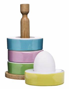 Držák s podstavci Nature Eggcups (Sagaform), 4 porcelánové kroužky, O 8 cm, cena na dotaz, WWW.NAOKO.CZ