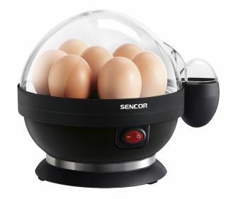 Vařič vajec SEG 710BP (Sencor), kapacita 7 vajíček, 3 stupně vaření, vyjímatelný zásobník usnadňuje servírování vajec, jednoduché čistění s odnímatelným zásobníkem, elektronický časovač se zvukovou signalizací, cena 349 Kč, WWW.SENCOR.CZ