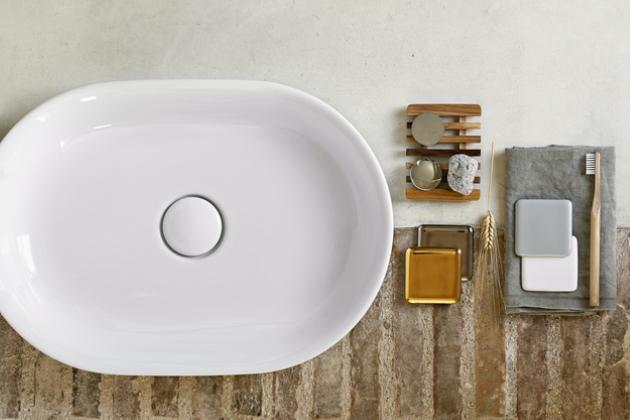 Umyvadlo Horizon, položení na desku, nábytek nebo na konstrukci, lesklé bílé, rozměr 50 × 35 cm, cena 8 470 Kč