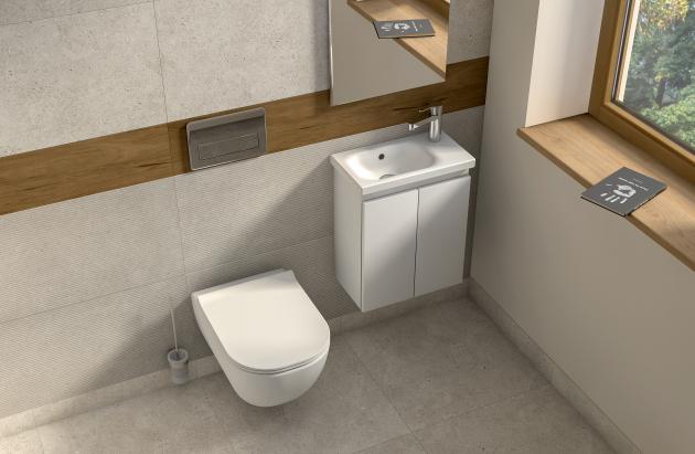 Nová umyvadla a nábytek ze série Mio-N se v letošním roce rozrostla o asymetrické umývátko Mio-N, které disponuje velikostí pouhých 45 cm a umístěním baterie vpravo. Doplňuje ho stejně jako klasická umyvadla nábytek v provedení bílý lesk a jasan. Umývátko tak najde skvělé uplatnění na samostatných toaletách a v koupelnách s nedostatkem prostoru. Uživatelé pak ocení i úložný prostor, který nabízí právě varianta umývátka v kombinaci s nábytkem.