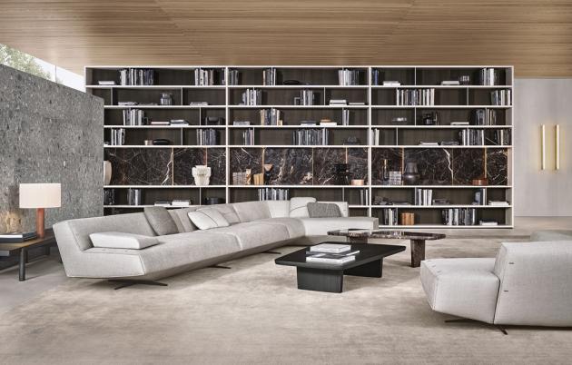 Velkoplošná knihovna Wall System (Poliform), design RandD Poliform, lakovaný povrch, speciální prvky – dřevo, sklo, kámen, individuální systém, cena dle konfigurace, WWW. STOPKA. CZ