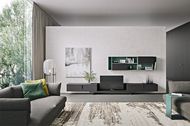 Obývací stěna Modulo 7, dýha a lakovaný povrch, výběr z několika barevných variant i rozměrů, cena na dotaz, WWW. CASAMODERNA. CZ