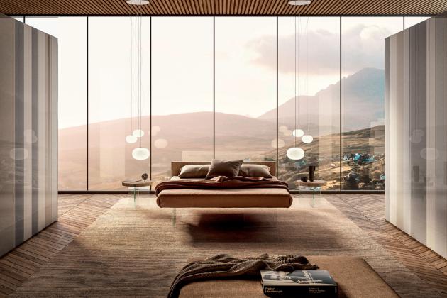 Postel Air (Lago), design Daniele Lago, patentovaný produkt, kožené čelo, podnož extra čiré kalené sklo, cena 92 166 Kč, WWW.LAGO.CZ