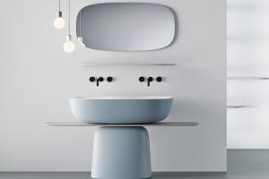 Dvojité umyvadlo Milo (Kolpa-San), materiál Kerrock, barva pouze z vnější strany, více barev, cena od 25 440 Kč, WWW.INTEASHOP.CZ