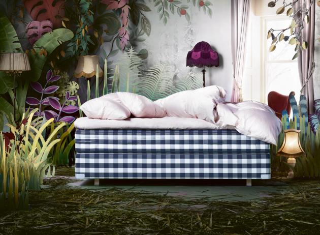 kontinentální dvoulůžková postel Hästens 2000T II (Hästens), složení povrchová matrace, pružinová matrace a spodní část, 100% přírodní materiály – vlna/ /bavlna, koňské žíně, WWW.POSTELE-HASTENS.CZ