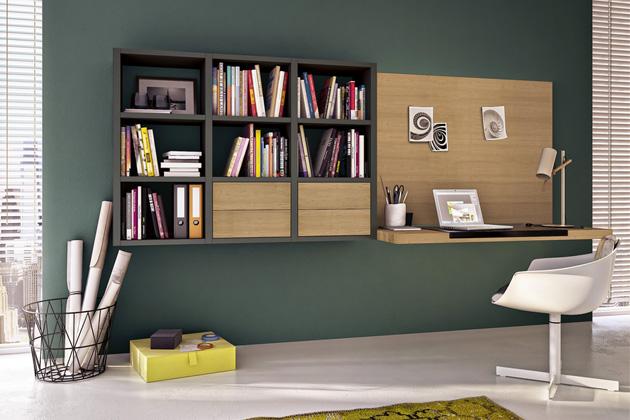 Sestava domácí pracovny Mega Design s knihovnou (hülsta), design hülsta, šedý lak a dub, možnost výběru z barev a materiálů, délka modulu 300 cm, cena od 149 000 Kč, WWW.HOMESTYLE.CZ