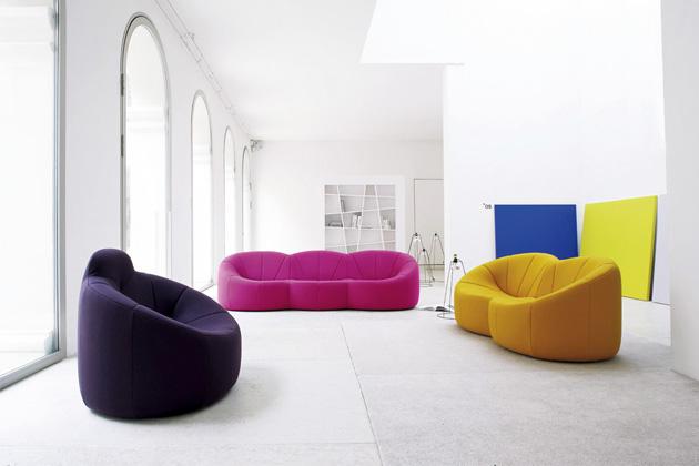Kolekce křesel a pohovek Pumpkin (Ligne Roset), design Pierre Paulin, celočalounění, výběr mnoha barev a materiálů