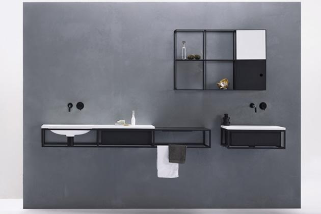 Modulární koupelnový systém Frame (Ex.t), kov, dřevo, kámen, Living Tec a mramor, cena podle kompozice na dotaz, WWW.EX-T.COM