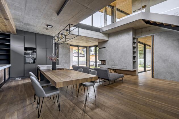 Veškerý solitérní nábytek včetně svítidel byl vyroben na míru z autorského portfolia architekta Vladana Běhala a jeho studia Vladan Běhal Design a Areda (www.areda.cz)