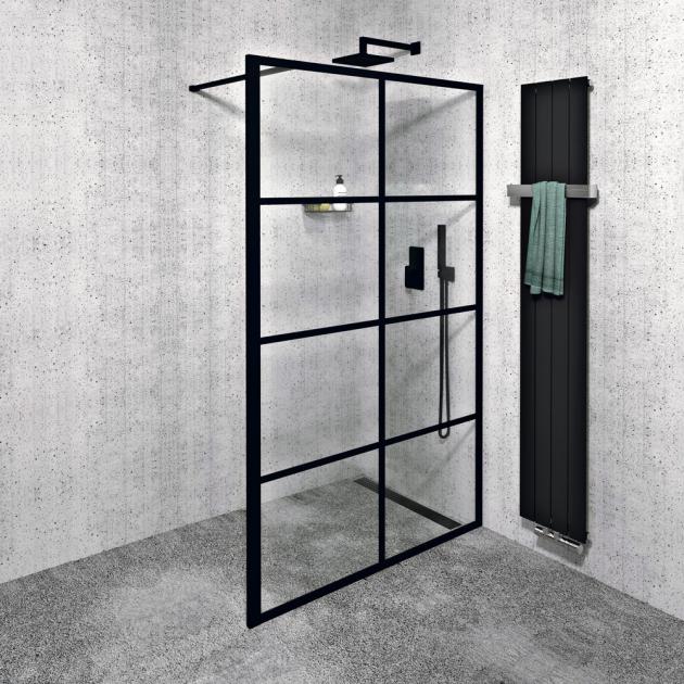 Walk-in Cure Black (Gelco), jednodílná zástěna kinstalaci na zeď, 120 cm, levé ipravé provedení, cena 11 290Kč, www.sapho.cz