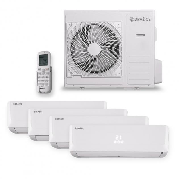 Multisplit AIR Plus Quattro – jedna venkovní jednotka se čtyřmi vnitřními zajistí optimální komfort vcelém bytě. Moderní invertorová technologie plynule přizpůsobuje výkon požadované teplotě. Provoz se vyznačuje vynikající energetickou účinností chlazení A++ atopení A+ .Intuitivní ovladač sprosvíceným displejem nabízí několik komfortních režimů ařadu chytrých funkcí včetně časovače. Díky vestavnému snímači teploty může převzít funkci pokojového termostatu Vnitřní jednotka umožňuje dokonalé řízení proudu vzduchu nastavením vertikálních ihorizontálních žaluzií anastavením automatické nebo manuální rychlosti ventilátoru