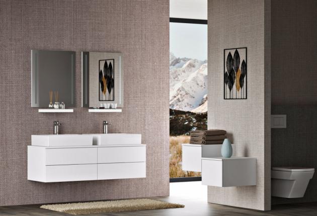 Nábytek kombinuje trend umyvadlových desek se zachováním komfortu zásuvkových skříněk, které lze doplnit praktickými poličkami, cena skříněk od 10 990 Kč