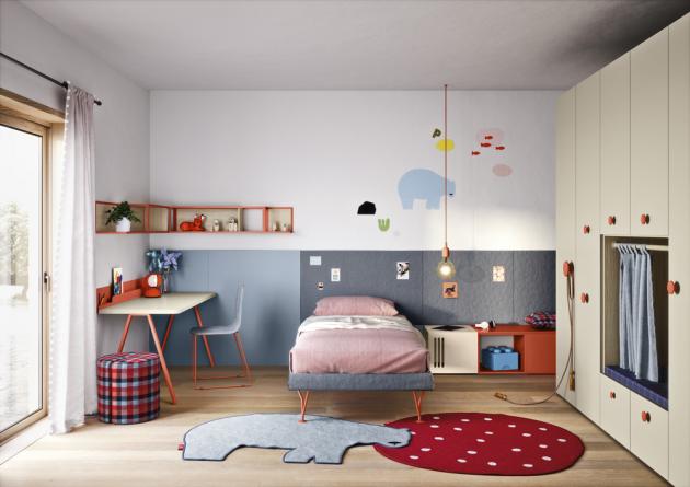 Dětský pokoj Space 1, součástí nábytkové sestavy velkoplošná textilní nástěnka za postelí, cena na dotaz,  www.casamoderna.cz