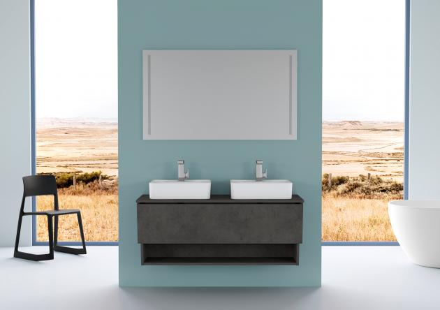 Imitace tmavého betonu propůjčí vaší koupelně mrazivě elegantní vzhled, velice sluší řadě INVENCE.