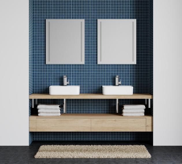 Umyvadlovou desku můžete doplnit zrcadly Stripe, u kterých lze regulovat intenzitu osvětlení.
