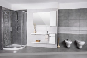Koupelna v minimalistickém pojetí. Obkladová série Beton šedý, cena od 399 Kč/m2