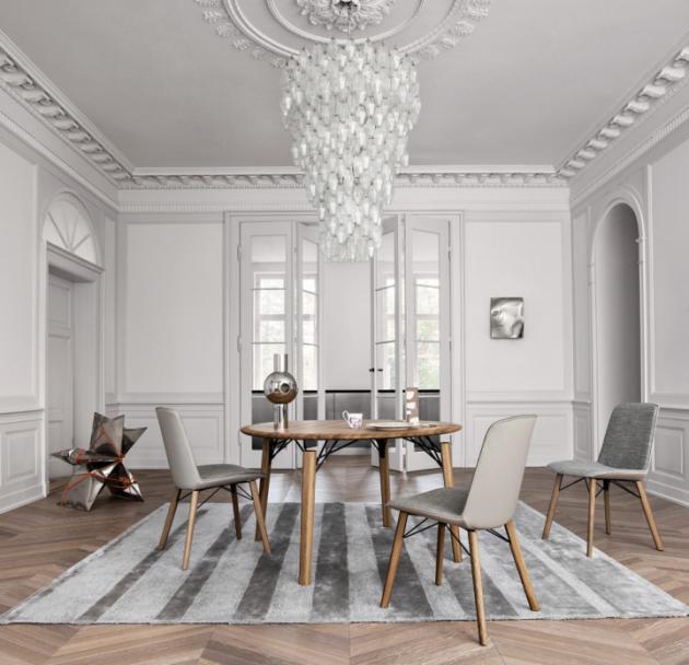 Stůl a židle – sestava 964 (Rolf Benz), model ovál i kruh, dub, ořech, židle kůže i textilie, cena od 120 000 Kč, WWW. STOPKA. CZ