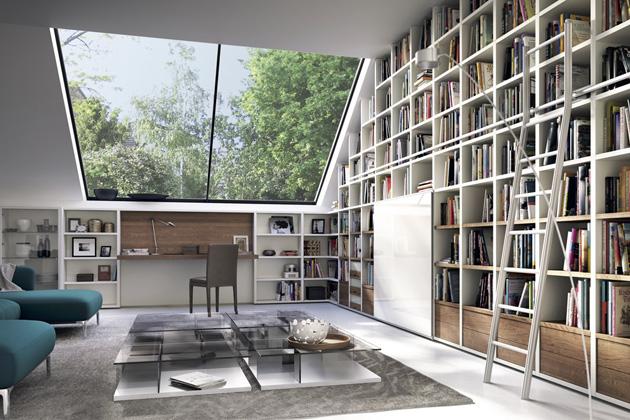 Sestava nábytku s pracovním stolem Mega Design (Hülsta), vždy individuální sestava na přání klienta, kombinace bílý lak a ořechová dýha, více materiálů, orientační cena 400 000 Kč, WWW.HOMESTYLE.CZ