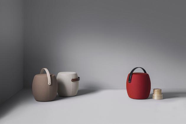 Multifunkční taburet Carry On (Offecct), textilní potah Kvadrat, výška sedu 45 cm, cena 20 090 Kč, WWW.OFFECCT.COM