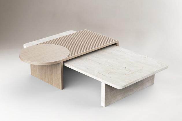 Kombinace dřeva atravertinu, hra stvaroslovím ivyužití rozdílných struktur jsou momenty, které dokonale funkční nábytek proměňují vzábavný interiérový prvek.