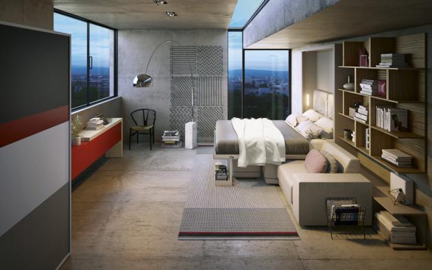 Rozkládací pohovka Oslo (Clei), rozměry konstrukce 220 × 173 × 301, rozměry lůžka 220 × 159 cm, modulární policový systém Tetris, výsuvný stůl Giro s rotačním mechanismem a úložným prostorem, cena na dotaz, WWW.CLEI.IT