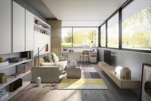 Systém Circe Sofa (Clei) zahrnuje rozkládací pohovku a úložný prostor, rozměry konstrukce 220 × 216 × 122,5 cm, rozměry lůžka 205 × 161,2 cm, sklápěcí psací stůl s ukrytým lůžkem Kali Board, cena na dotaz, WWW.CLEI.IT