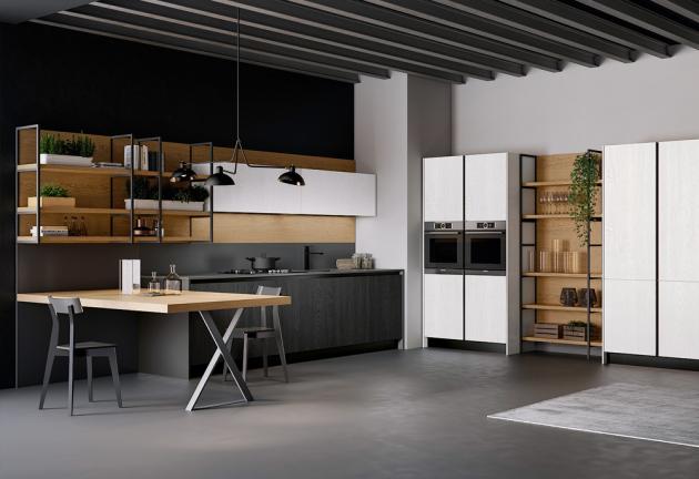 Kuchyňská sestava Asia v provedení dýha s pevně zabudovaným kuchyňským stolem a otevřenými policemi, které doplňuje integrovaný systém madel ve vertikálním i horizontálním provedení