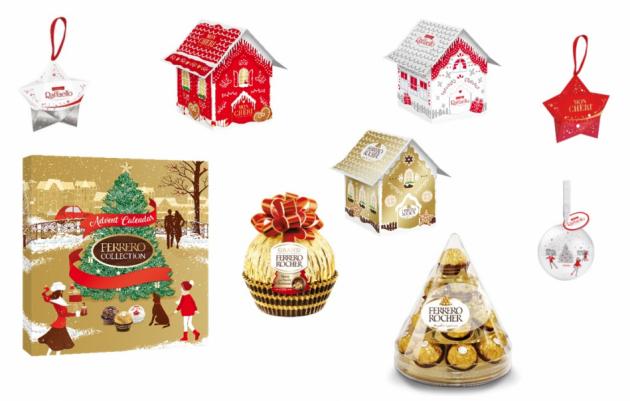 Sváteční čas se samozřejmě nesmí obejít bez elegantního adventního kalendáře Ferrero Collection a větviček ozdobených závěsnými hvězdičkami Ferrero Rocher, Mon Chéri a Raffaello. Stylové jsou také závěsné plechové koule s pralinkami Raffaello, Ferrero Rocher nebo Mon Chéri, které se hodí i přímo na stromeček.