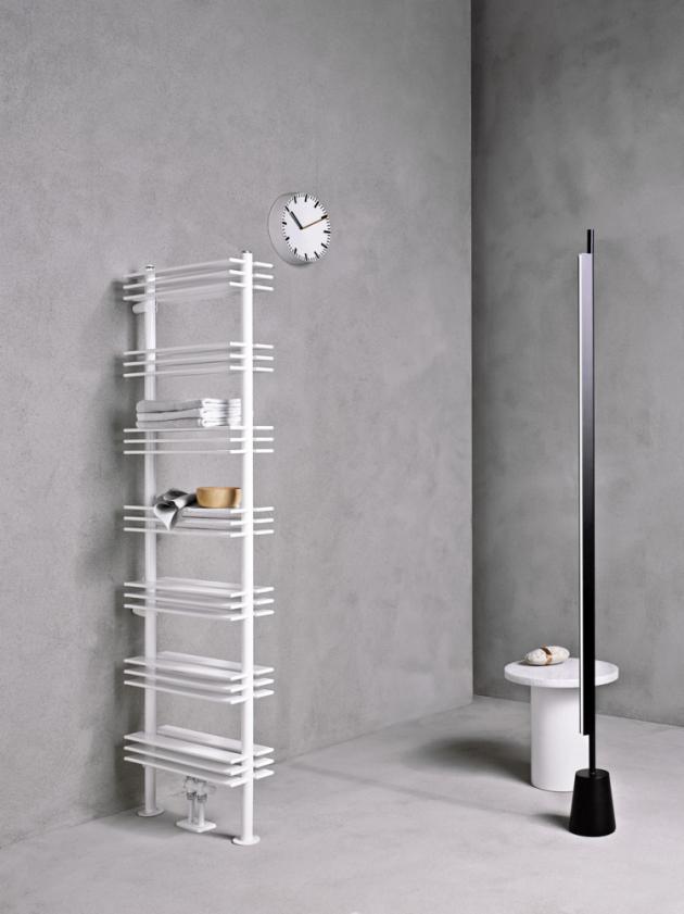 Radiátor Shelf (Caleido), 160 × 51 cm, 7 praktických poliček, elektrické nebo teplovodní vytápění, cena 35 512 Kč, WWW.DESIGNBATH.CZ