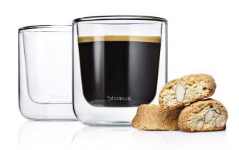 Termosklenice na espresso Nero (Blomus), sklo, objem 0,08 l, O 6 cm, výška 6,5 cm, orientační cena 500 Kč / 2 ks, WWW.CSKARLIN.CZ