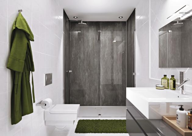 Bezspárový obklad stěn EasyStyle (Hüppe), 1 000 × 2 550 mm / 1 500 × 2 550 mm, vodotěsné, odolné vůči otěru, poškrábání, chemikáliím, cena od 14 774 Kč/ks, WWW.KOUPELNY-PTACEK.CZ