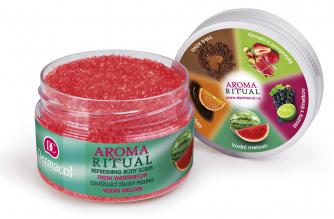 Aroma Ritual body scrub (Dermacol), fresh watermelon, cena 149 Kč, WWW.DERMACOL.CZ