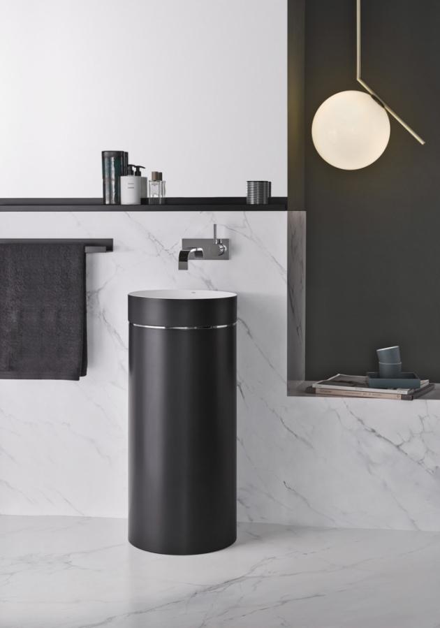 Stojící umyvadlo Bicolor (Alape), tloušťka 3 mm, zvenku černé, uvnitř bílé, cena na dotaz, WWW.ALAPE. COM