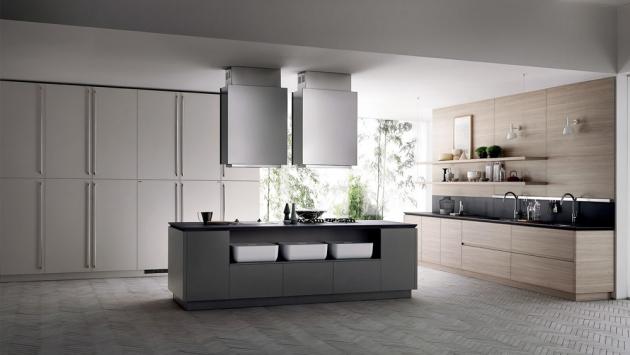 Kuchyňský koncept Tetrix (Scavolini), design Michael Young, dřevo, lakovaný povrch a kov, cena dle kompozice na dotaz, WWW.SCAVOLINI.COM