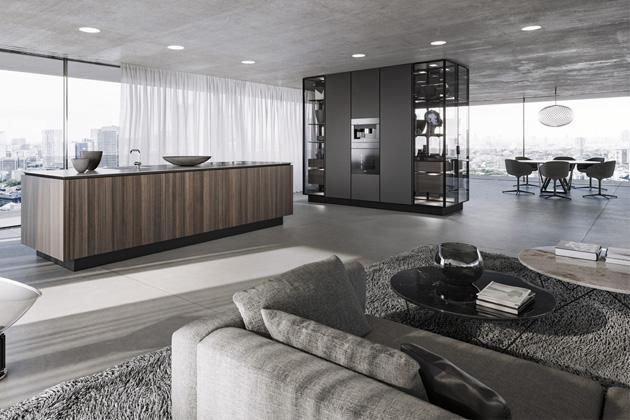 Kuchyňský koncept SieMatic Pure (SieMatic), kov, sklo, dřevo, cena dle kompozice na dotaz, WWW.STOPKA.CZ