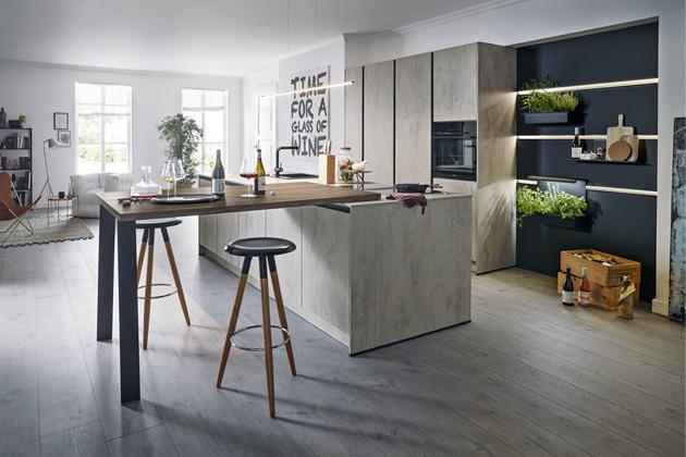 Moderní kuchyně Elba, imitace betonu, bezúchytkové otevírání TIP-ON, cena dle kompozice na dotaz, WWW.CASAMODERNA.CZ