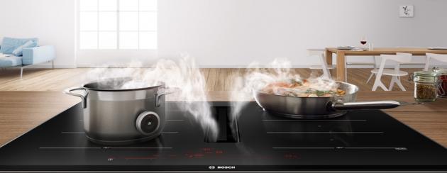 Indukční varná deska s odsáváním PXX875D67E (Bosch), 80 cm, FlexZone, PerfectCook ready, PerfectFry senzor, Home Connect, cena 78 990 Kč, WWW.BOSCH-HOME.COM/CZ