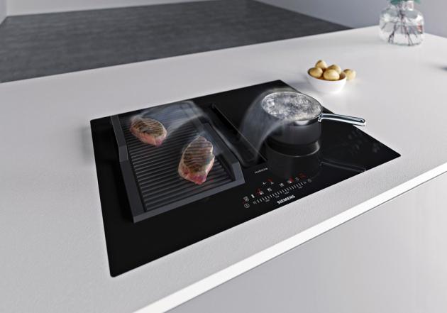 Indukční varná deska s odsáváním EX807LX67E (Siemens), šířka 80 cm, fl exInduction, Home Connect, cena 78 990 Kč, WWW.SIEMENS-HOME. BSH-GROUP.COM/CZ