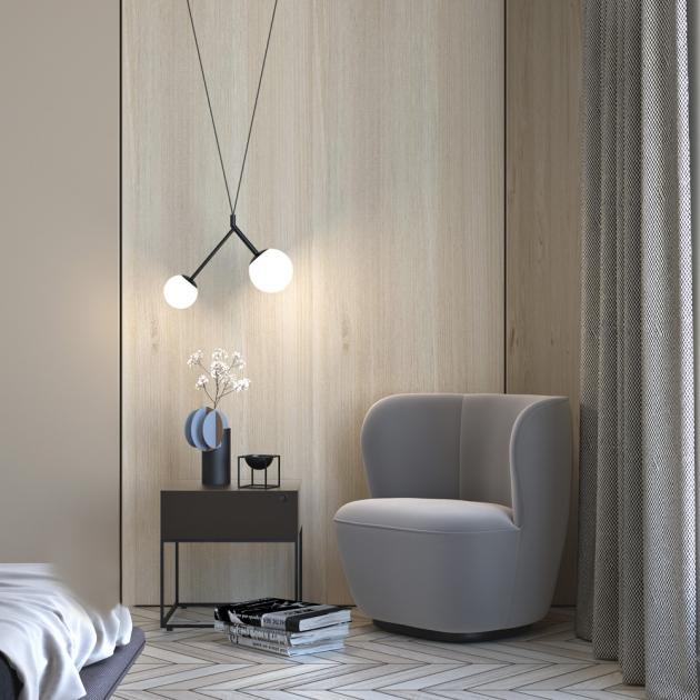 Nadčasový design dekorativních lustrů Geo a Zed. Třívrstvé opálové sklo, kabelový závěs, ocelová konstrukce. Více barevných provedení. Cena od 4 402 Kč
