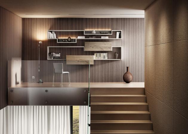Sestava nábytku 36e8 (Lago), design Daniele Lago, ručně opracovaný dub a matný lak, cena na dotaz, WWW.LAGO.CZ