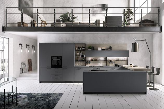 Kuchyň Mood (Scavolini), design Silvano Barsacchi, pracovní deska i dvířka ve sjednoceném designu Bromine Grey Fenix NTM®, cena na dotaz, WWW.SCAVOLINI.COM
