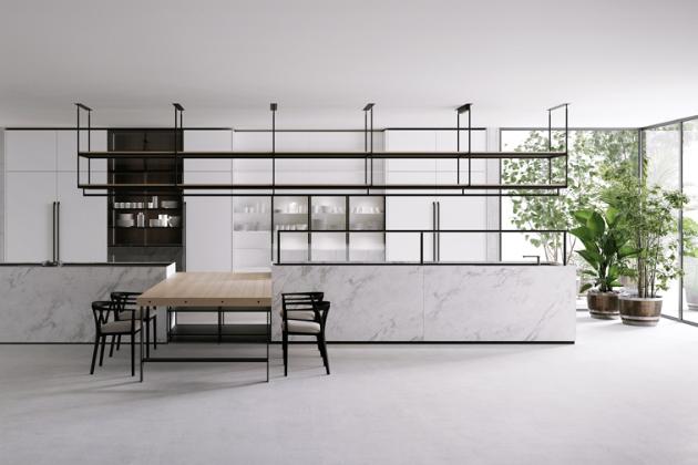 Kuchyň Combine (Boffi), design Piero Lissoni, mramor, hliník, dřevo – podle volby, více rozměrů podle zvolené konfigurace, cena na dotaz, WWW.KONSEPTI.COM